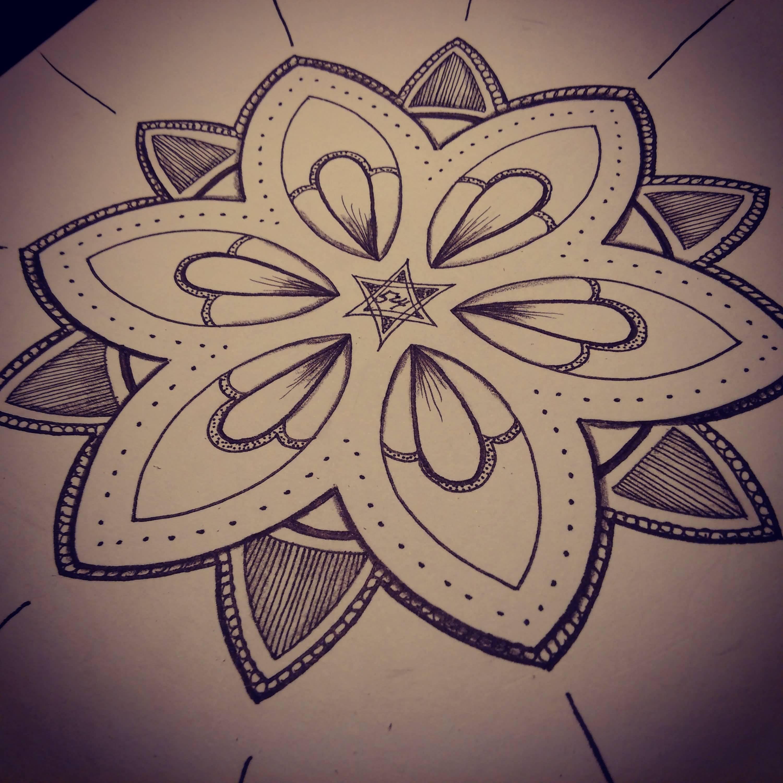 Nice Grey Ink Mandala Flower Tattoos On Sleeve