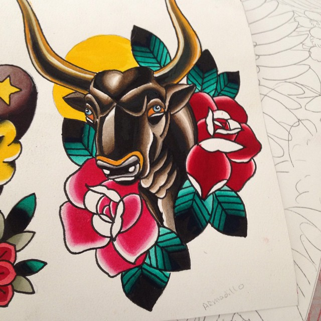Nice Traditional Bull Sun Tattoo Design