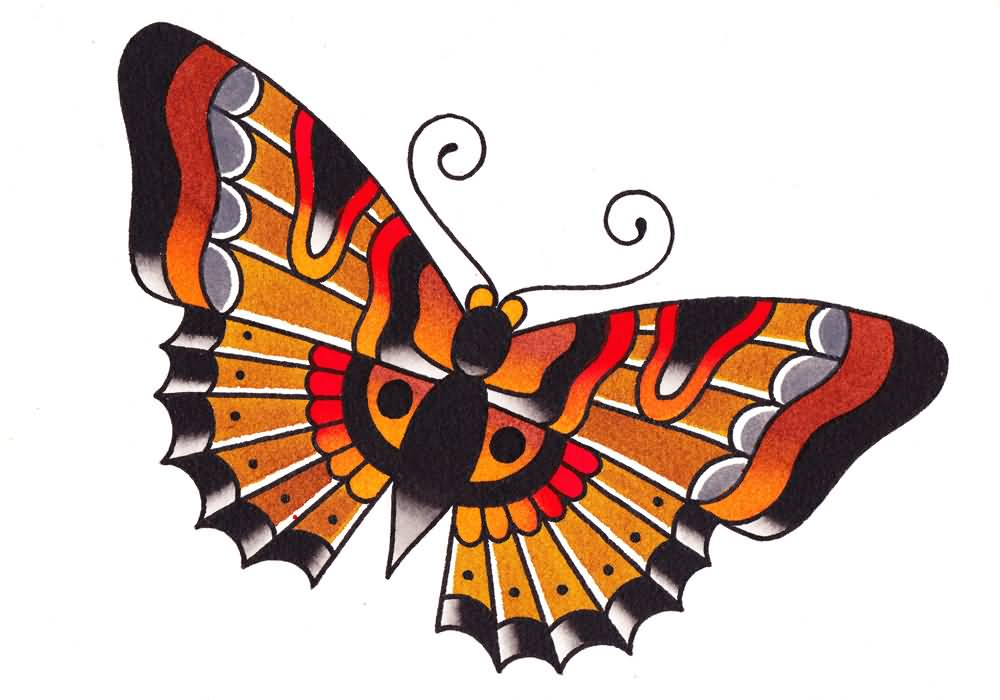 Nice Traditional Butterfly Tattoo Design