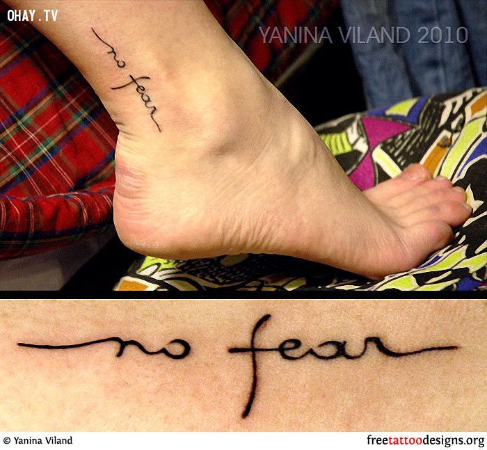 No Fear Words Tattoo On Ankle