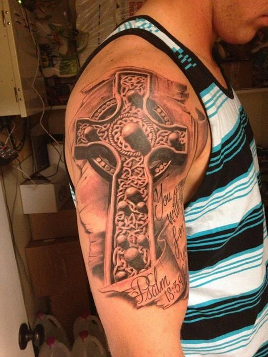 Outstanding 3D Celtic Cross Tattoo On Right Half Sleeve