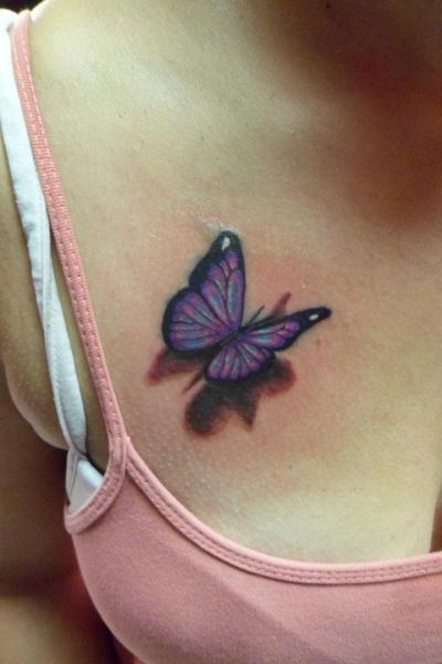 Perfect 3D Butterfly Tattoo On Women Chest