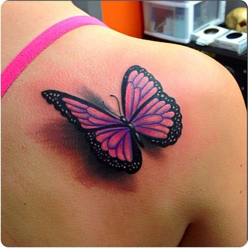 Pink 3D Butterfly Tattoo On Right Back Shoulder