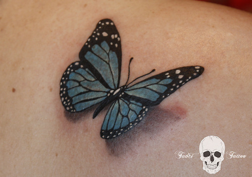 Realistic 3D Butterfly Tattoo