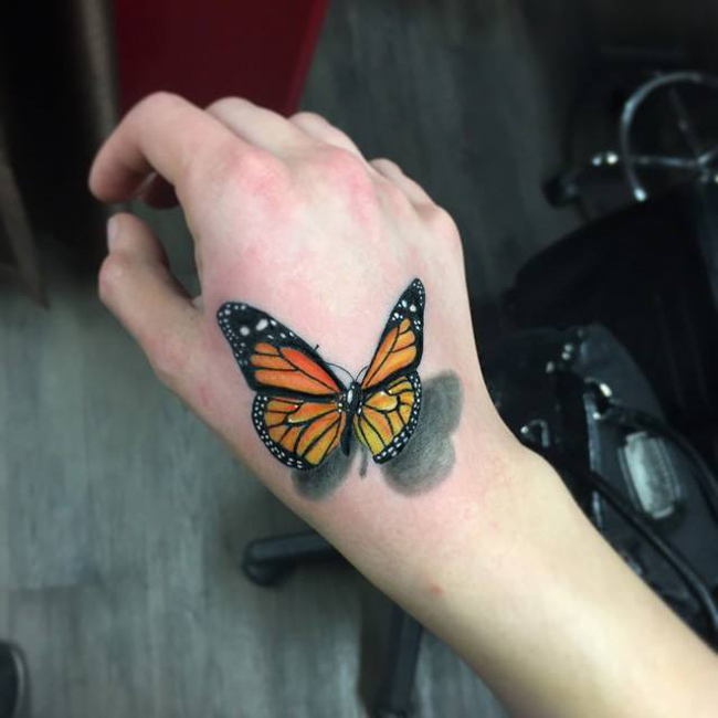 Realistic 3D Monarch Butterfly Tattoo On Hand