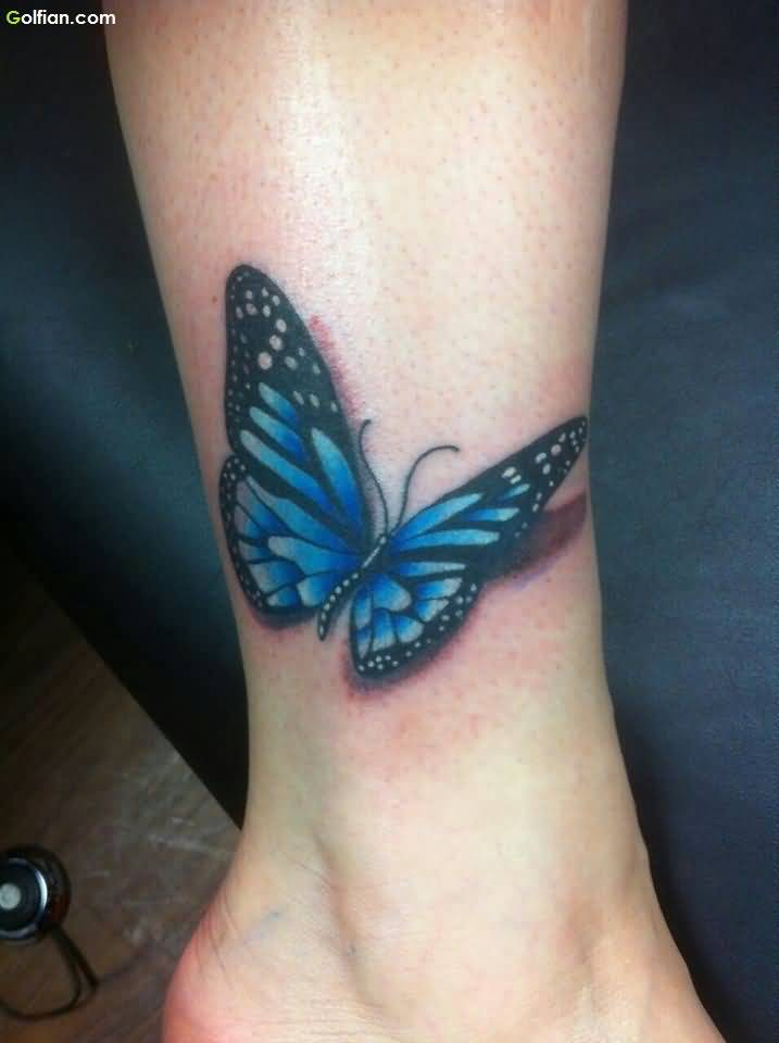 Realistic Blue Butterfly Tattoo On Ankle