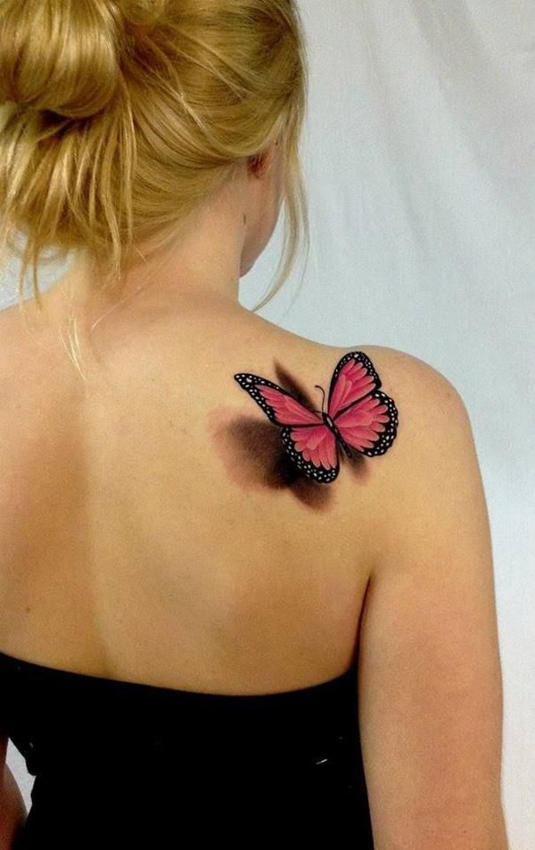 Red 3D Butterfly Tattoo On Right Back Shoulder For Girls