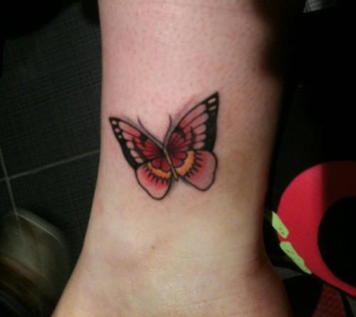 Red Butterfly Tattoo On Ankle