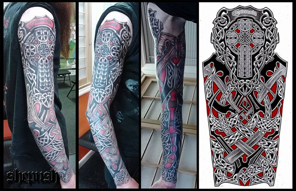 Religious Celtic Full Sleeve Tattoo By Shepush