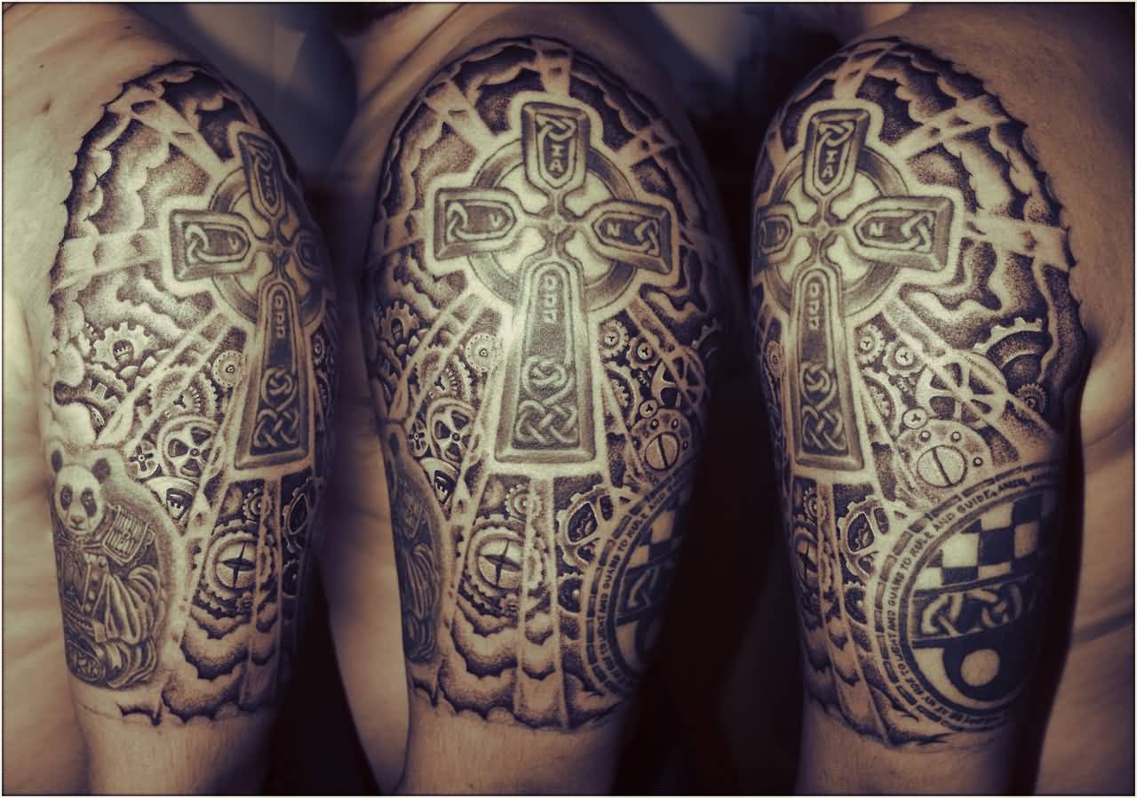 Religious Celtic Mechanical Tattoo On Half Sleeve