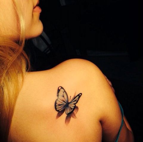 Simple 3D Butterfly Tattoo On Girl Back Shoulder