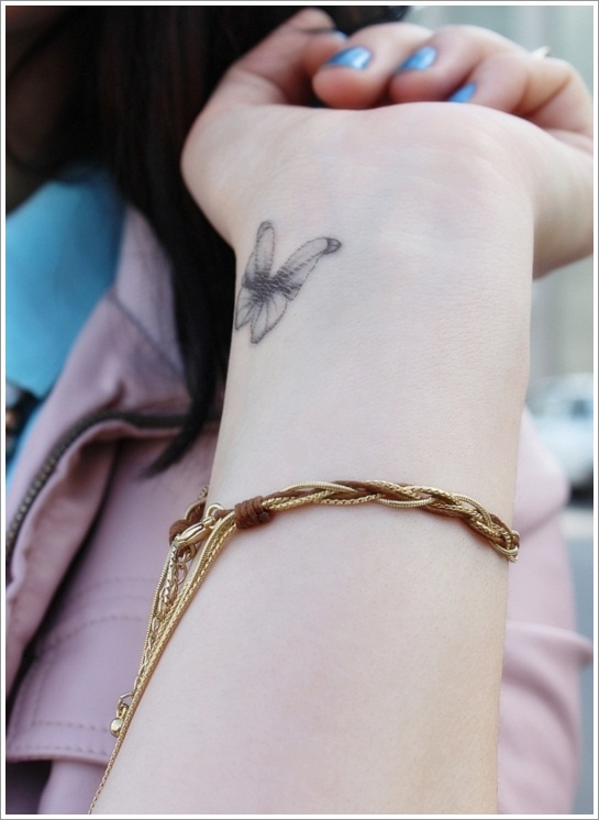 Simple Butterfly Tattoo On Wrist For Girls