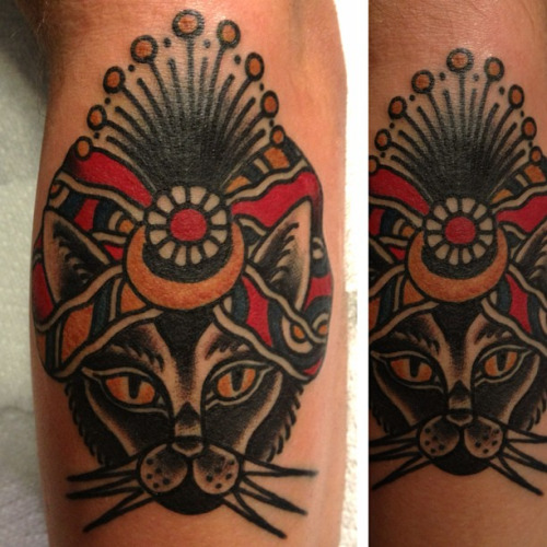 Simple Native Cat Traditional Tattoo
