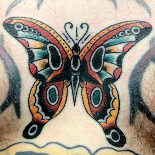Simple Traditional Butterfly Tattoo