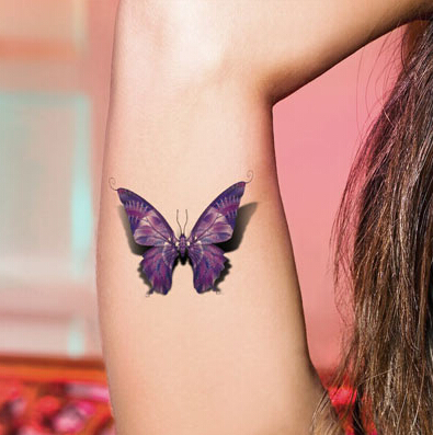 Small 3D Butterfly Tattoo On Girl Biceps