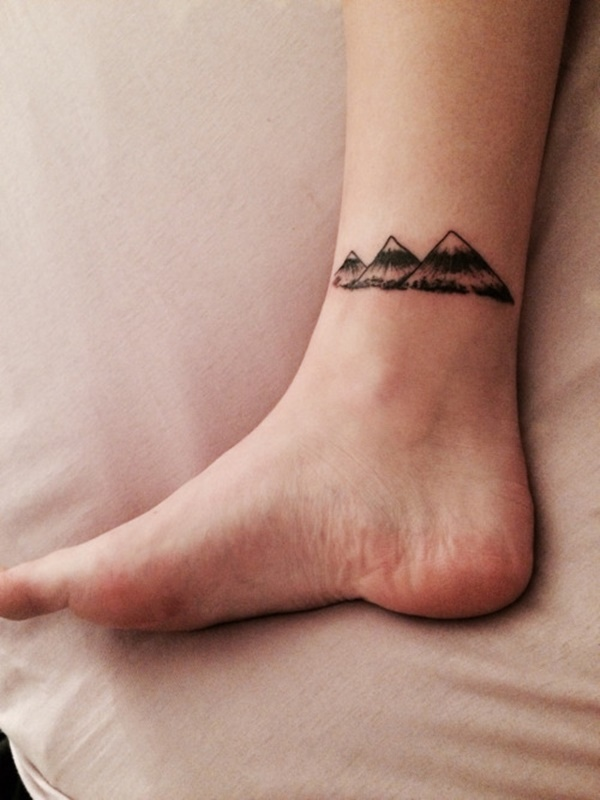 Small Ankle Mountains Tattoo