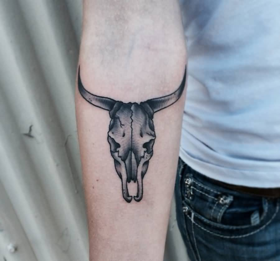 Small Black Bull Skull Tattoo On Forearm