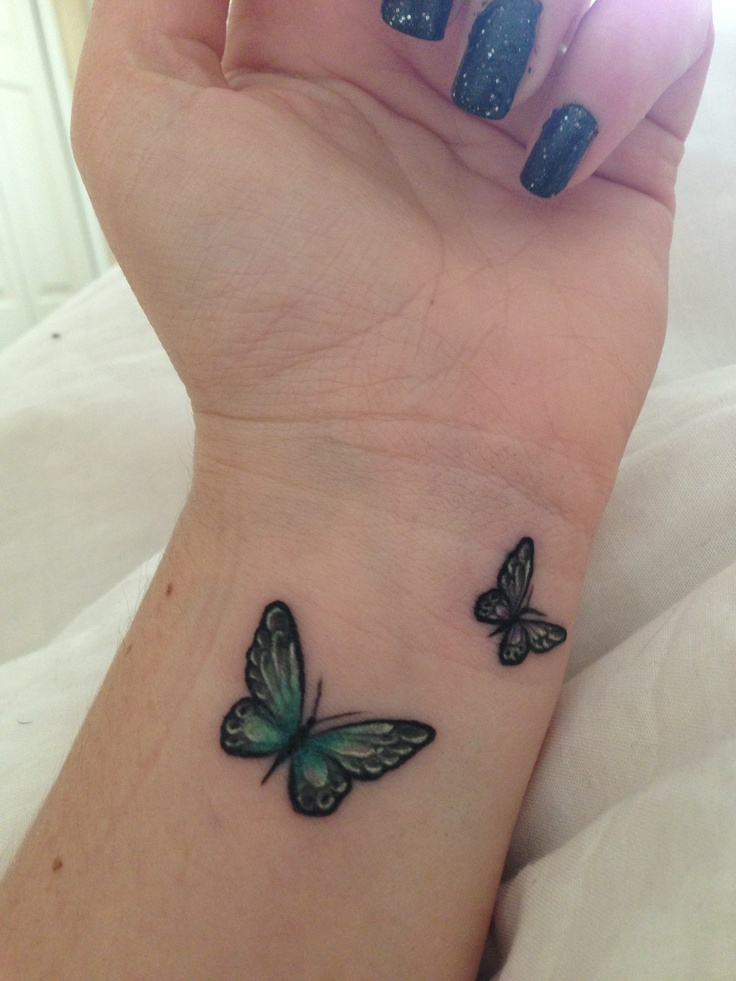 Small Butterflies Tattoo On Wrist For Girls