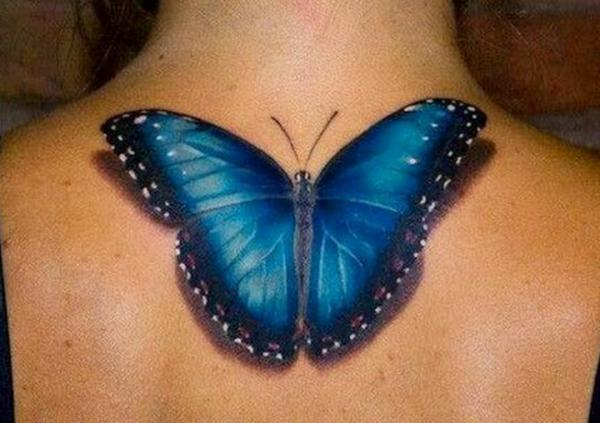 Superb 3D Butterfly Tattoo On Upper Back
