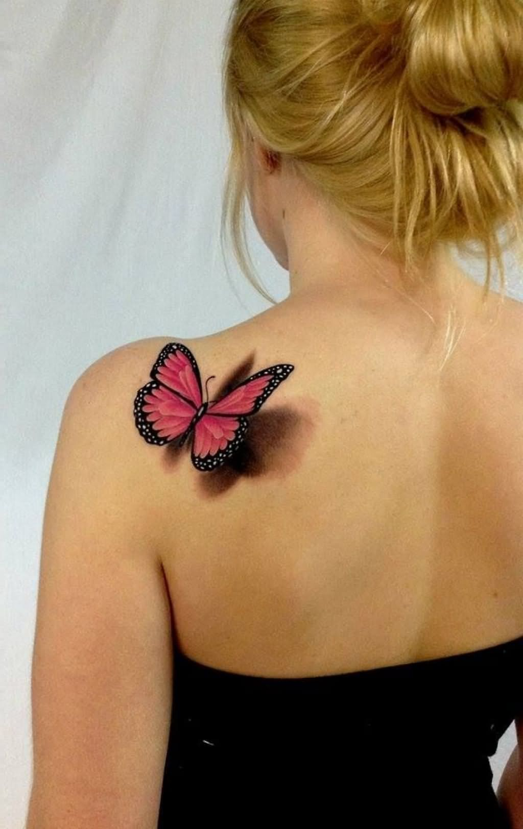 Superb 3D Red Butterfly Tattoo On Left Back Shoulder