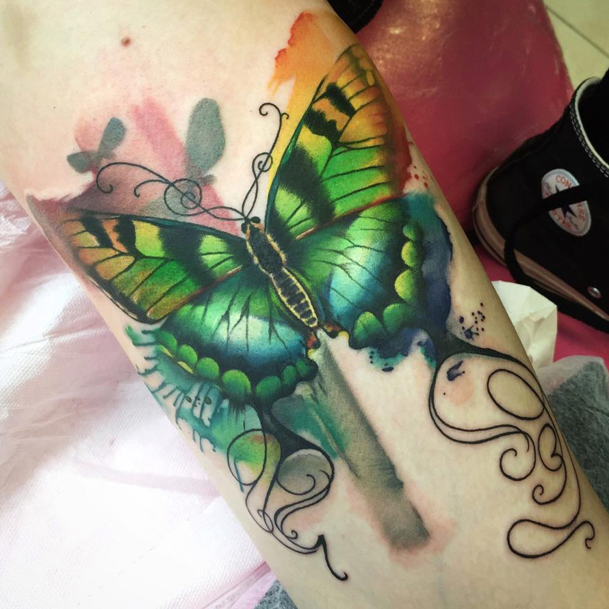 Watercolor Flower Moth Tattoo My Precious Ink: Butterfly Tattoo Images & Designs