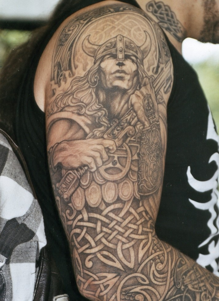 Superb Celtic Viking Tattoo On Full Sleeve For Men