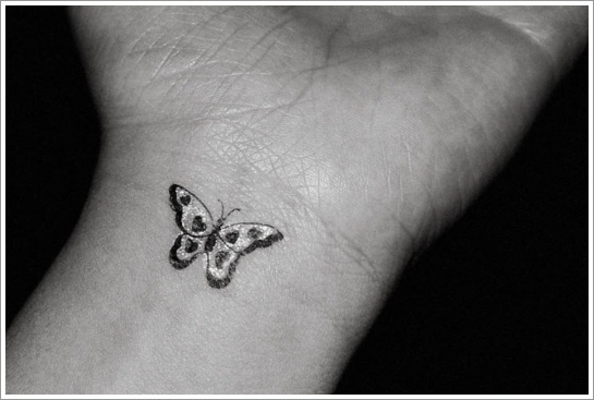 Tiny Butterfly Tattoo On Wrist