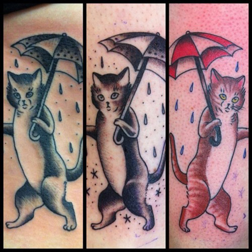 Tiptoeing Cat Through The Rain Traditional Tattoo