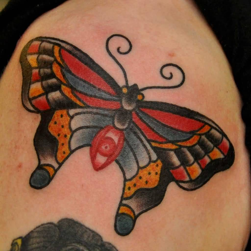 Traditional Butterfly Tattoo By Stand Proud Tattoo