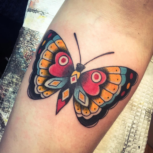 Traditional Butterfly Tattoo On Forearm