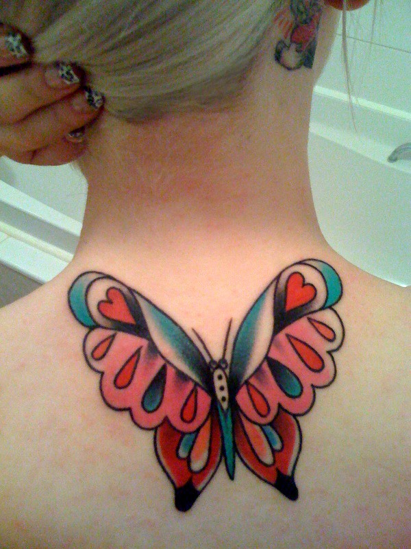 Traditional Butterfly With Heart On Wings Tattoo On Girl Nape