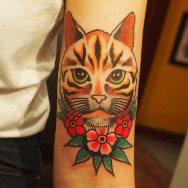 Traditional Cat Tattoo On Forearm