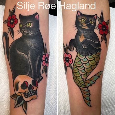 Traditional Cat Tattoos On Arms