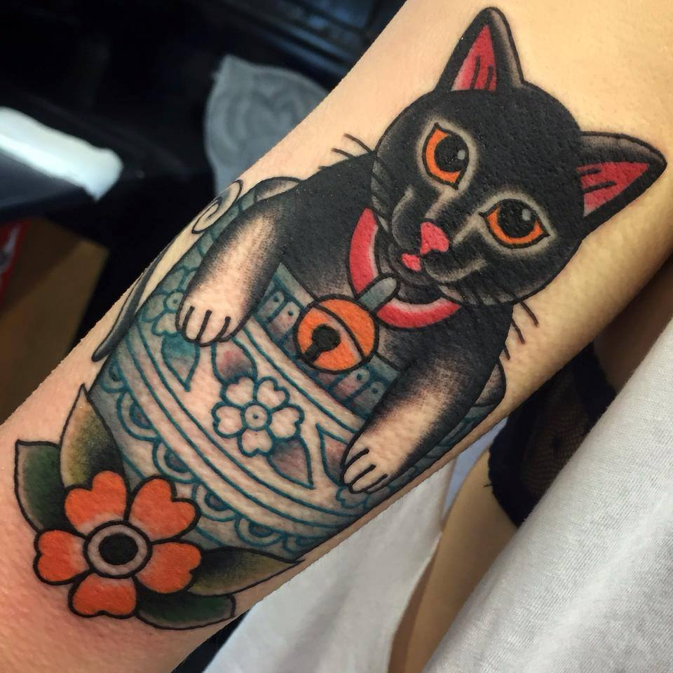 Traditional Cup Cat Tattoo On Arm