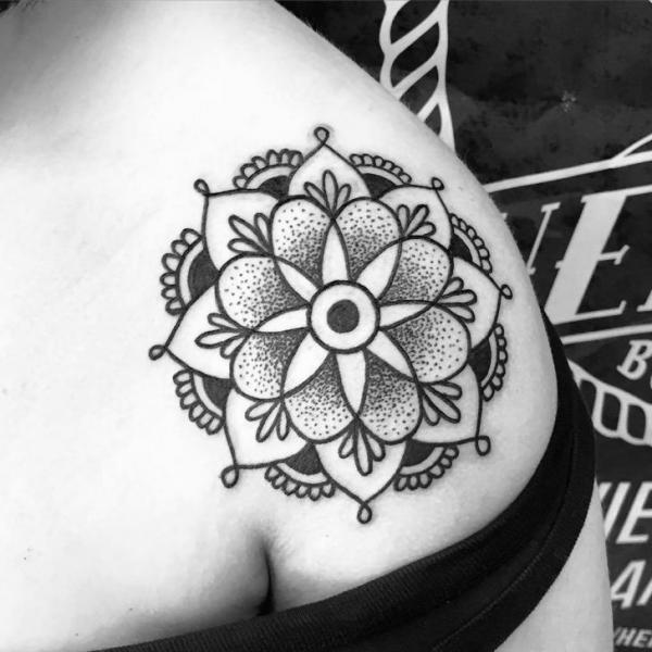 Traditional Dotwork Floral Mandala Tattoo On Upper Shoulder