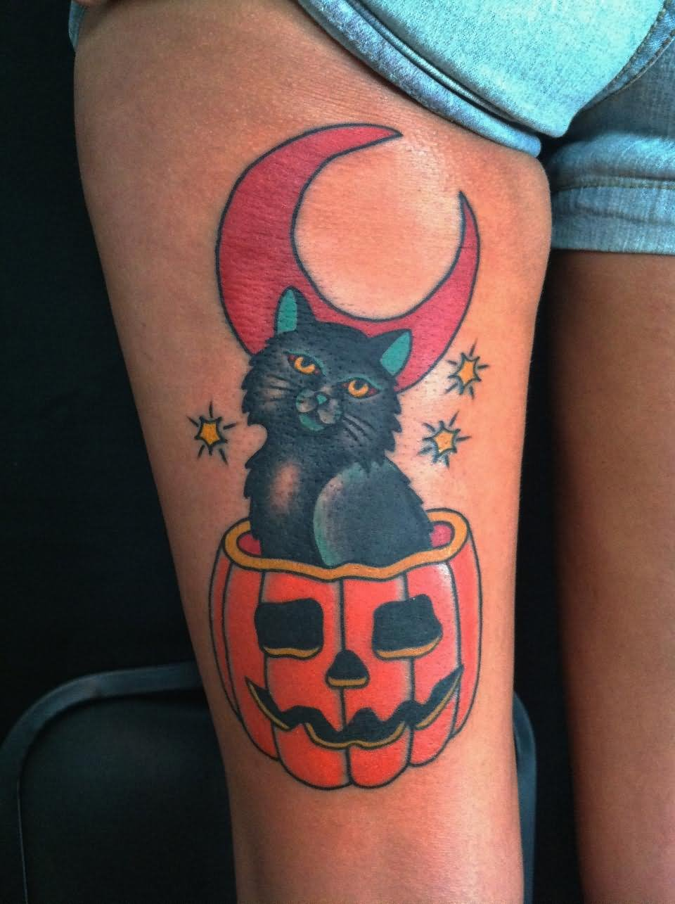 Traditional Halloween Cat In Pumpkin Tattoo On Right Thigh