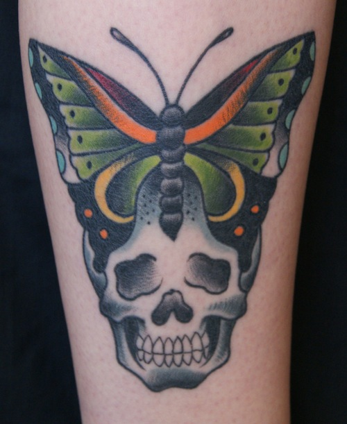 Traditional Skull With Butterfly Tattoo