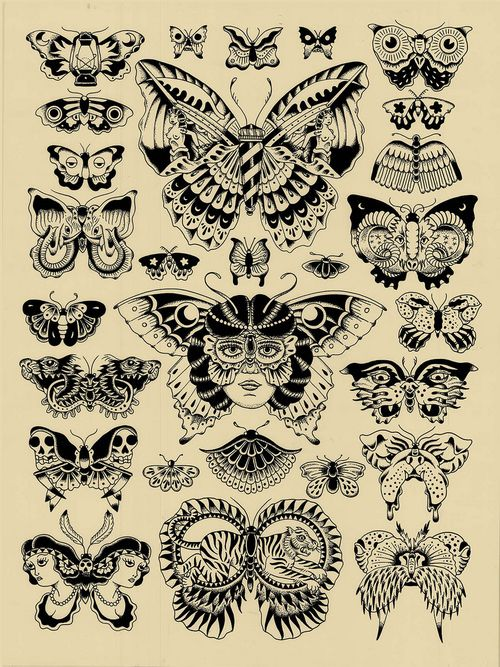 Traditional Style Butterfly Tattoo Design Set