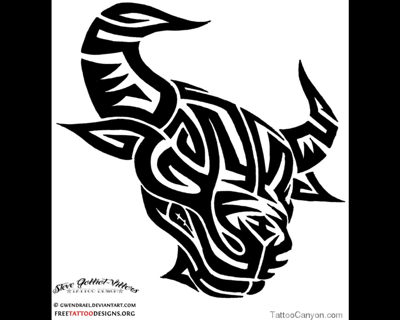 Tribal Bull Head Tattoo Design