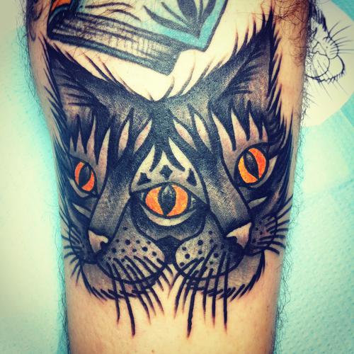 Two Faced Traditional Cat Tattoo