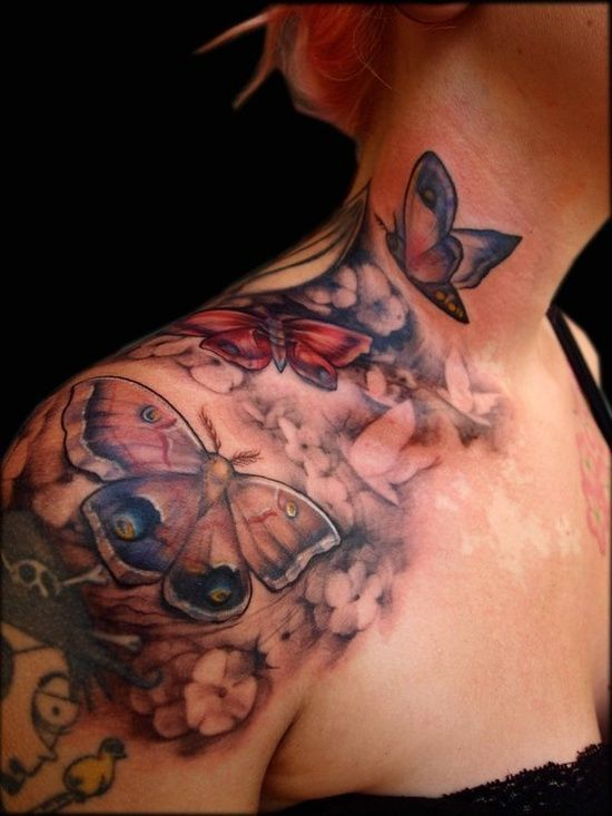 Unique Butterflies Tattoo On Upper Shoulder For Girls