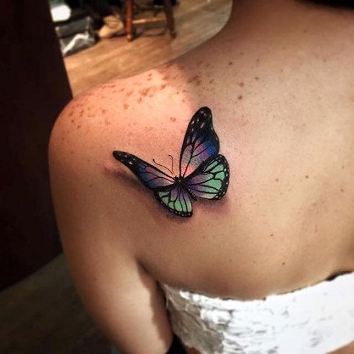 Violet And Green 3D Butterfly Tattoo On Right Back Shoulder For Girls