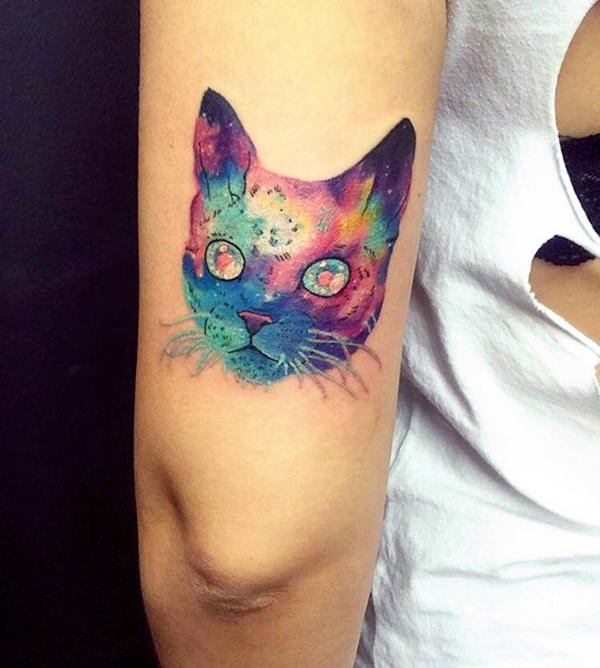 Watercolor Puss Cat Tattoo On Triceps