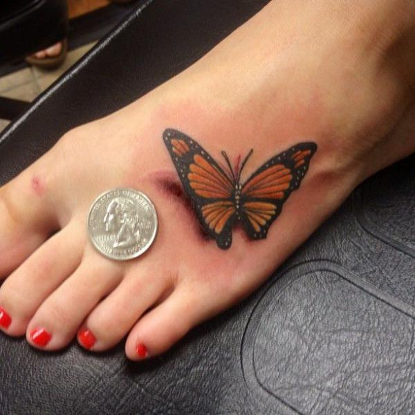 Wonderful 3D Monarch Butterfly Tattoo On Girl Foot