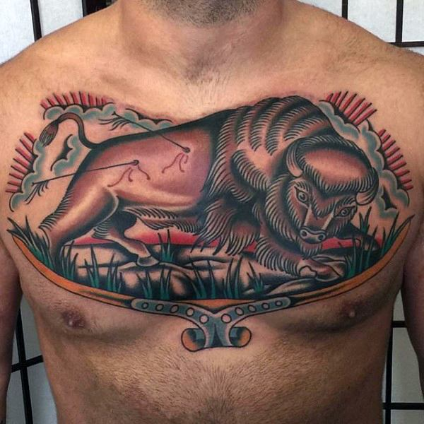 Wonderful Attacked Bull Traditional Tattoo On Chest