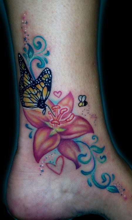 Wonderful Butterfly With Flowers Tattoo On Ankle
