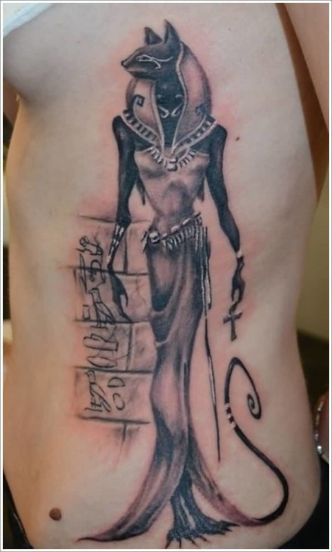Wonderful Egyptian God Cat Tattoo On Side Rib