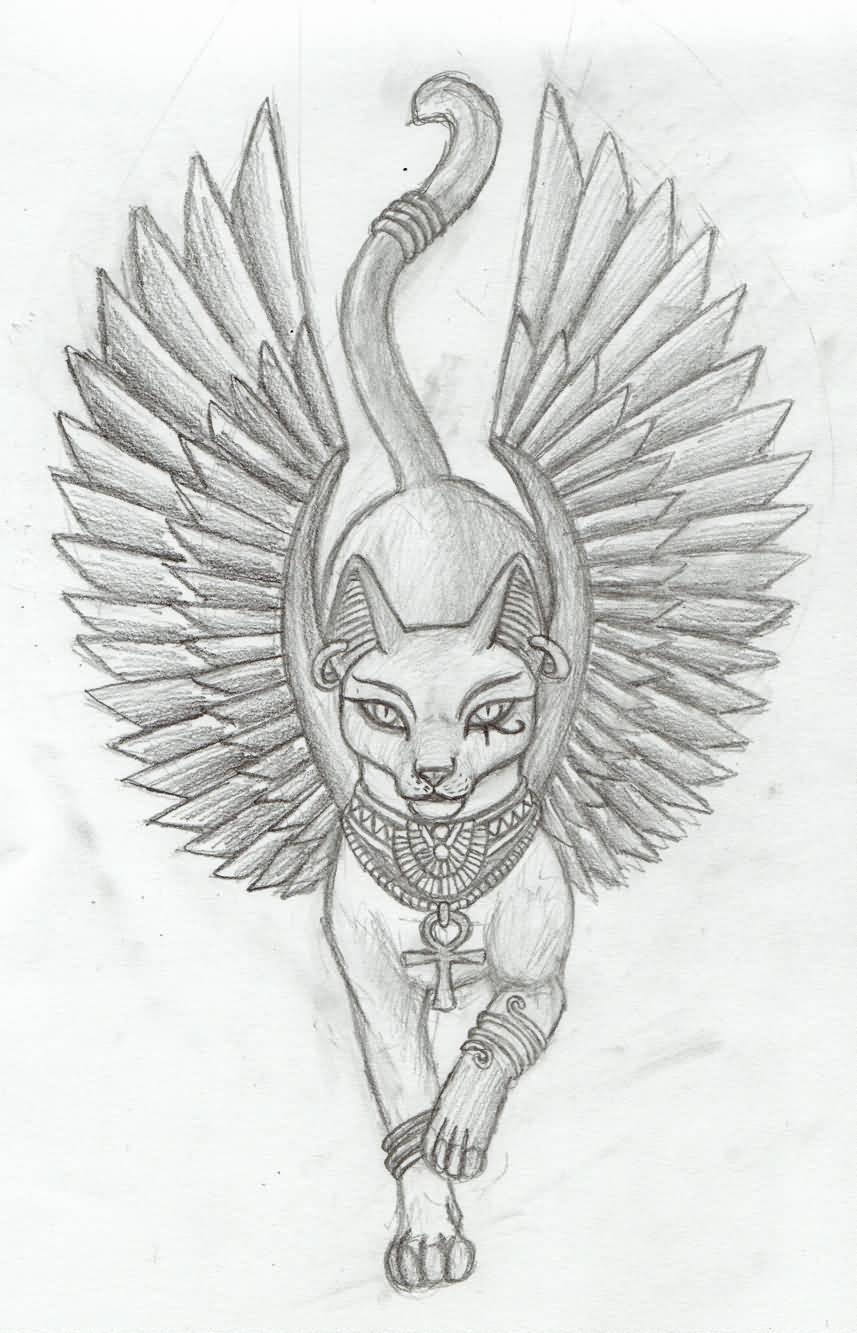 Wonderful Egyptian Goddess Cat Tattoo Drawing
