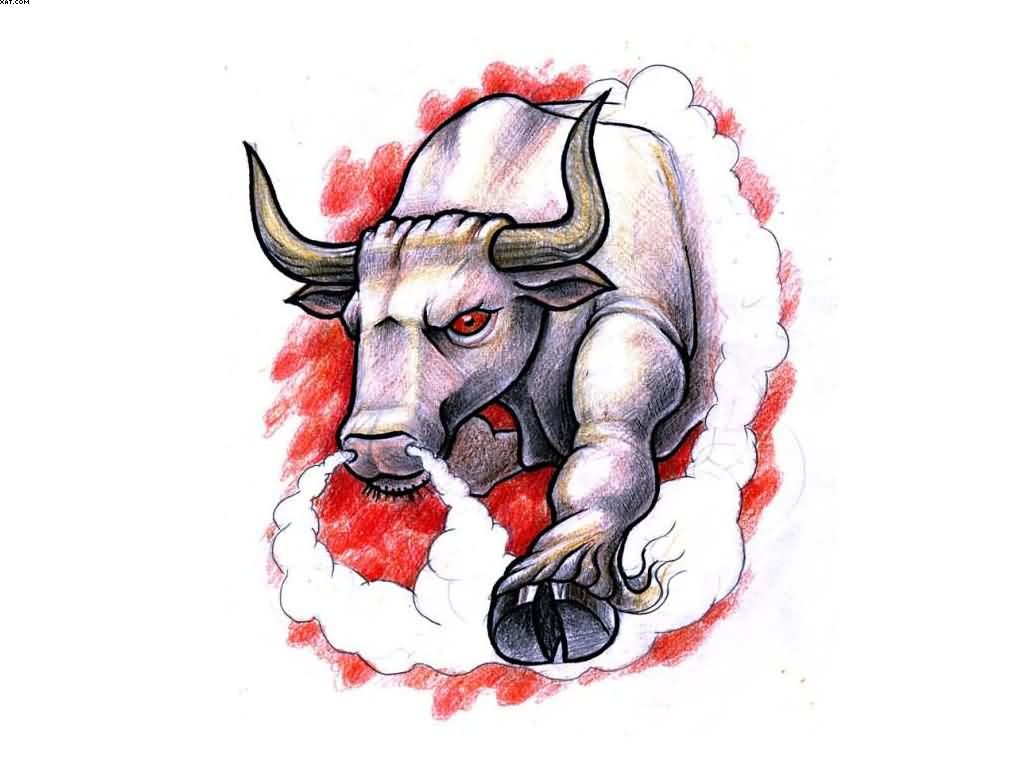 Wonderful Raging Bull Colored Tattoo Design