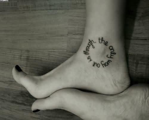 Wording Circle Tattoo For Girls